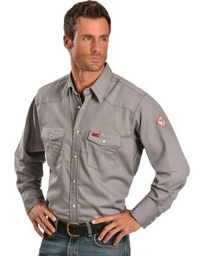Wrangler Lightweight Flame Resistant Western Work Shirt, Charcoal Grey, hi-res