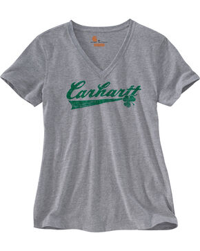 Carhartt Women's Charcoal Grey Lockhart Graphic Shamrock Logo T-Shirt, Charcoal Grey, hi-res
