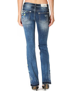 Grace in LA Women's Blue Floral Garden Boot Cut Jean with Released Hem, , hi-res