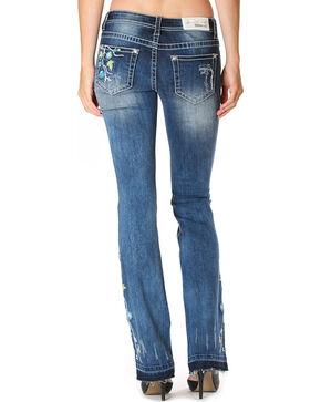 Grace in LA Women's Blue Floral Garden Boot Cut Jean with Released Hem, Medium Blue, hi-res