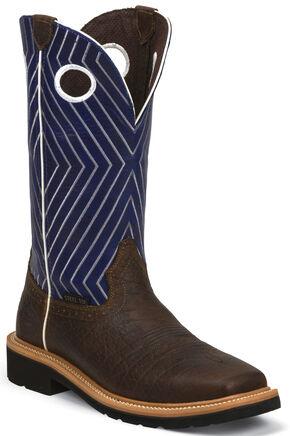 Justin Original Work Boots Men's Stampede Work Boots - Steel Toe , Chestnut, hi-res