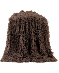 HiEnd Accents Chocolate Mongolian Faux Fur Throw , , hi-res