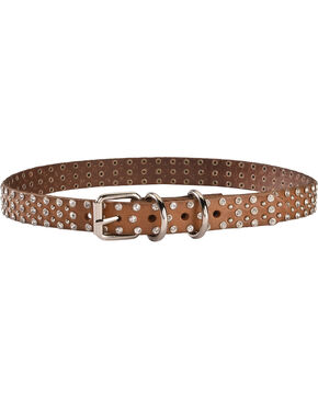 Blazin Roxx Studded Rhinestone Dog Collar - S-XL, Brown, hi-res
