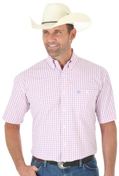 Wrangler George Strait Men's Pink Plaid Short Sleeve Shirt - Big & Tall , , hi-res