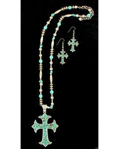Blazin Roxx Women's X-Long Cross Turquoise Necklace & Earrings Set, , hi-res