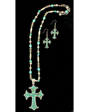 Blazin Roxx Women's X-Long Cross Turquoise Necklace & Earrings Set, Silver, hi-res