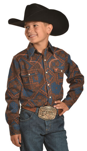 Cowboy Hardware Boys' Bandana Print Western Snap Shirt, Orange, hi-res