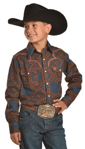 Cowboy Hardware Boys' Bandana Print Western Snap Shirt, Orange, hi-res