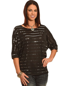 Wrangler Rock 47 Women's Chevron Sequin Dolman Top, Black, hi-res
