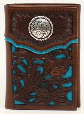 Nocona Floral Overlay Tri-fold Concho Wallet, Blue, hi-res