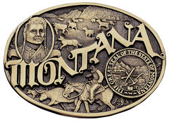 Montana Silversmiths Montana State Heritage Attitude Belt Buckle, , hi-res