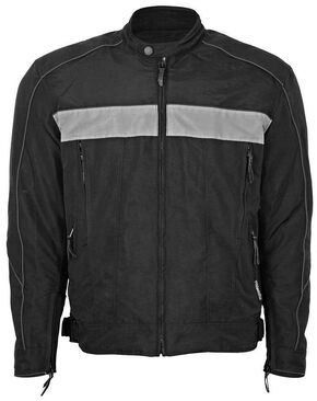 Interstate Leather Cordura Reflective Jacket, Black, hi-res