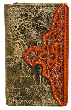 Stetson Sweetwater Forest Green Leather Tri-Fold Wallet, , hi-res