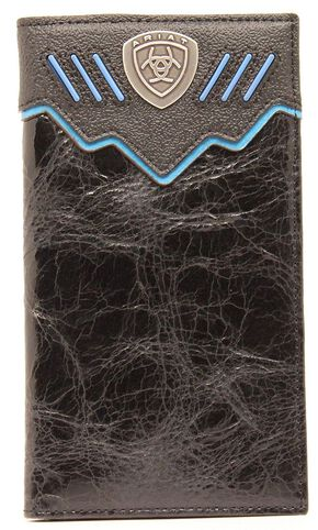 Ariat Logo Concho Rodeo Wallet, Black, hi-res