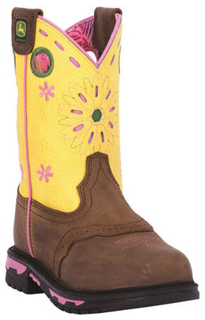 John Deere Girls' Johnny Popper Western Boots - Square Toe, Tan, hi-res