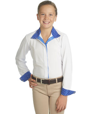 Ovation Girls' Ellie Tech Show Shirt, Blue, hi-res