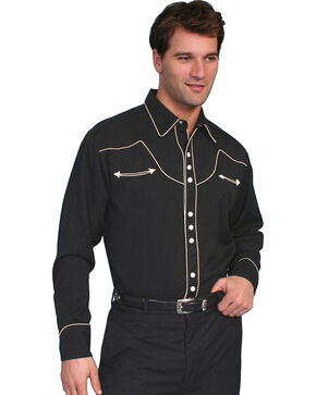 Scully Black Vintage Western Shirt, Black, hi-res