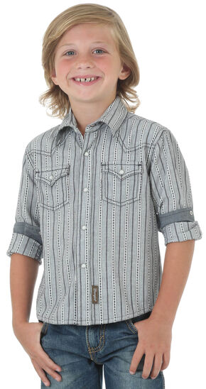 Wrangler Retro® Boys' Navy Dobby Stripe Long Sleeve Shirt , Navy, hi-res
