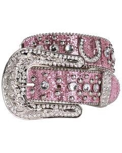 Nocona Pink Glittery Horseshoe Concho Western Belt, , hi-res
