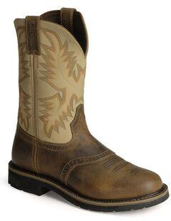 Justin Stampede Work Boots - Steel Toe, Brown, hi-res