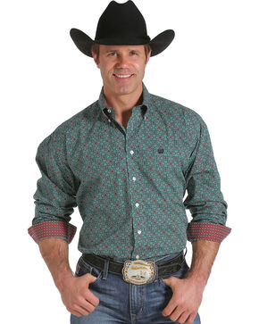 Cinch Men's Green Foulard Print Western Shirt , Green, hi-res