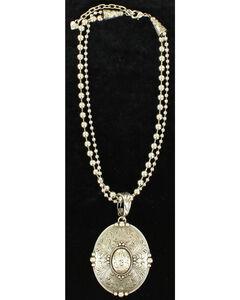 Blazin Roxx Floral Etched Oval Pendant Necklace , , hi-res