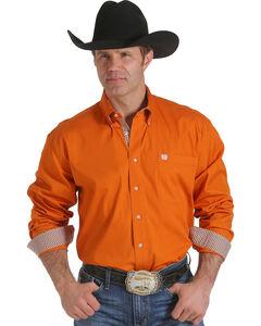 Cinch Men's Solid Orange Contrast Western Shirt , , hi-res