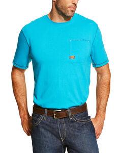 Ariat Men's Turquoise Rebar Crew Short Sleeve Pocket Tee, Turquoise, hi-res