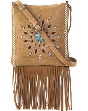 Blazin Roxx Women's Stella Fringe Messenger Bag , Brown, hi-res