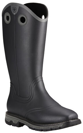 Ariat Men's Black Conquest Insulated Rubber Boots - Square Toe , Black, hi-res