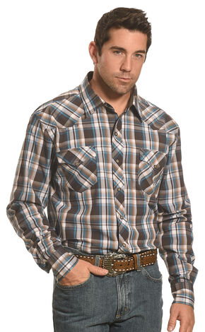 Garth Brooks Sevens by Cinch Men's Brown Plaid Western Shirt , Multi, hi-res