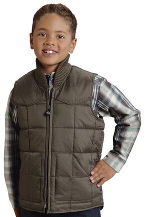 Roper Boy's Rangegear Quilted Nylon Vest, Taupe, hi-res