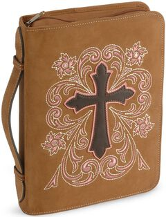 Cross Embroidered Leather Bible Cover, , hi-res