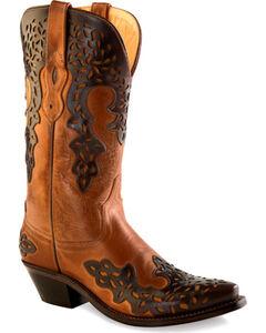 Old West Women's Dark Brown Overlay Western Boots - Snip Toe  , , hi-res