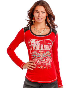 Panhandle Slim Women's Red Thunderbird Guitar T-Shirt , Red, hi-res