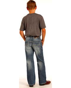 "Rock & Roll Cowboy Boys' Blue ""V"" Design Raised Denim Jeans - Boot Cut , , hi-res"