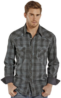 Rock and Roll Cowboy Indigo Wash Plaid Western Snap Shirt , , hi-res
