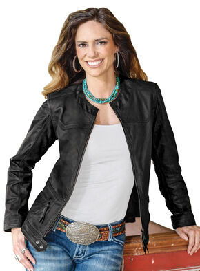 STS Ranchwear Women's Douglas Black Leather Jacket, Black, hi-res