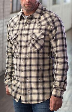 Ryan Michael Men's Black Hawk Plaid Shirt, Oyster, hi-res