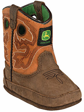 John Deere Infant Boys' Johnny Popper Western Crib Boots, Brown, hi-res
