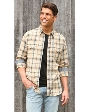 Wrangler Retro Men's Khaki/Blue Plaid Premium Long Sleeve Snap Shirt - Big & Tall, Beige/khaki, hi-res