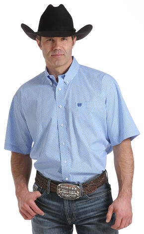 Cinch Men's Light Blue Print Western Shirt, Light Blue, hi-res