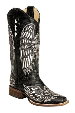 Corral Distressed Black with White Cross & Wing Inlay Cowgirl Boots - Square Toe, , hi-res