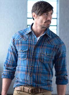 Ryan Michael Men's Exploded Indigo Plaid Shirt, , hi-res