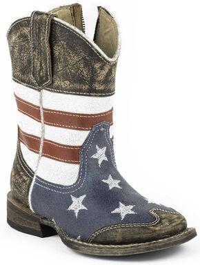 Roper Toddler Boys' American Flag Inside Zip Cowboy Boots - Square Toe, Dark Brown, hi-res