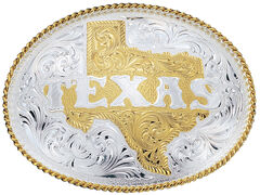 Montana Silversmiths Silver Engraved State of Texas Western Belt Buckle, , hi-res