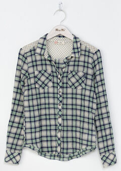 Miss Me Girls' Green Coastal Cool Plaid Shirt , Green, hi-res