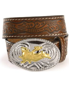 Nocona Children's Floral Leather Belt - 18-28, Brown, hi-res