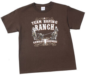 "Cowboy Hardware Boys' Brown ""Team Roping Ranch"" T-Shirt , Dark Brown, hi-res"