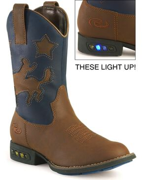 Roper Boys' Light Up Blue Bronco Cowboy Boots - Round Toe, Tan, hi-res